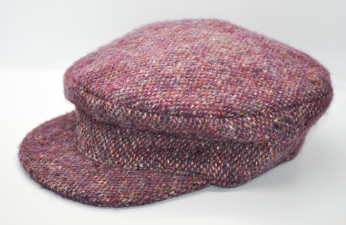 Hanna Hats of Donegal IRISH Tweed Skipper Cap in Pink HandMade in Ireland