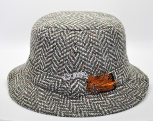 Hanna Hat Donegal IRISH Tweed Walking Hat in Green Herringbone HandMade in Ireland