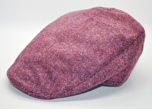Hanna Hats of Donegal Tweed Touring Cap in Pink HandMade in Ireland
