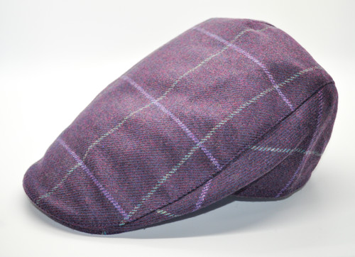 Hanna Hats of Donegal Tweed Touring Cap in Purple Plaid HandMade in Ireland