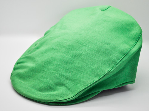 Hanna Hats of Donegal IRISH Linen Tailor Cap in Kelly Green HandMade in Ireland