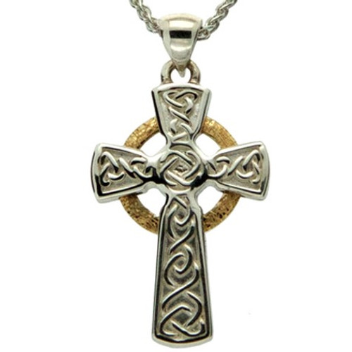 CIRCLE CELTIC CROSS PENDANT  in Sterling Silver with 10k Yellow Gold by KEITH JACK PCRX3642-1