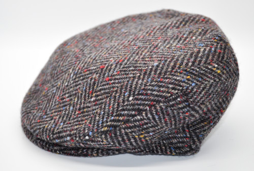 Hanna Hats of Donegal IRISH Children's Vintage Cap in Blue/Grey Herringbone HandMade in Ireland