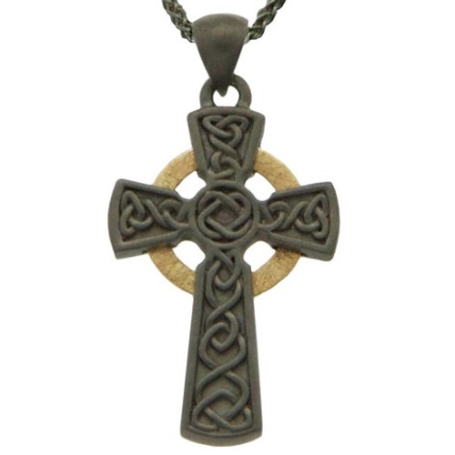 CIRCLE CELTIC CROSS PENDANT SMALL in Ruthenium Sterling Silver with 10k Yellow Gold by KEITH JACK PCRX3642-2
