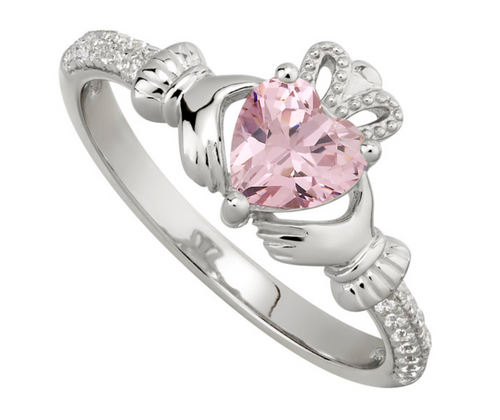 S/S & CZ Claddagh October Birthstone Ring