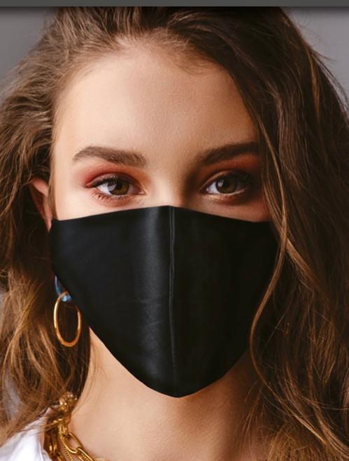 BLACK 100% Silk Face Mask