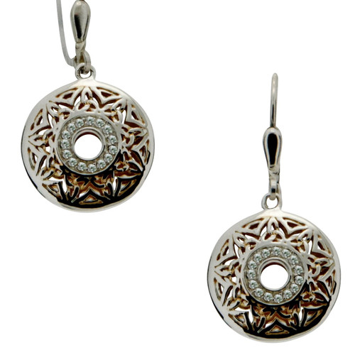 S/sil + 22k Gilded Window To The Soul White Topaz Round Leverback Earrings By Keith Jack