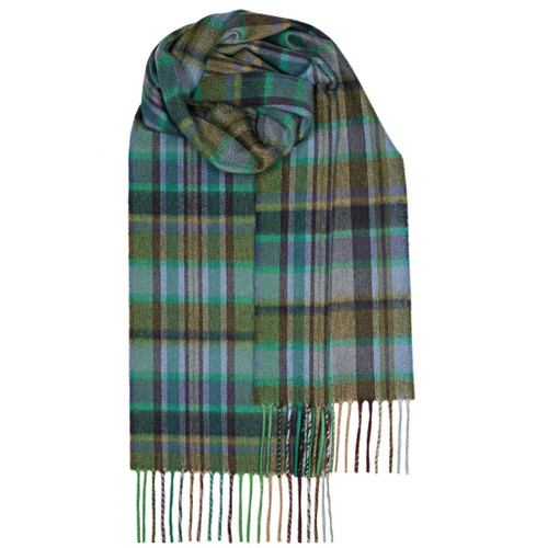 BEAU GREEN MEADOW CHECK LUXURY CASHMERE SCARF