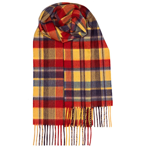 BEAU GOLD MEADOW CHECK LUXURY CASHMERE SCARF
