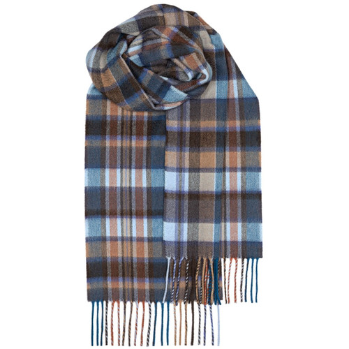 BEAU BLUE MEADOW CHECK LUXURY CASHMERE SCARF $115.82