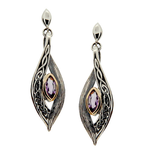 Sterling Silver and 10k Amethyst Eternity Knot Elven Post Earrings by  KEITH JACK PEX8384-AM