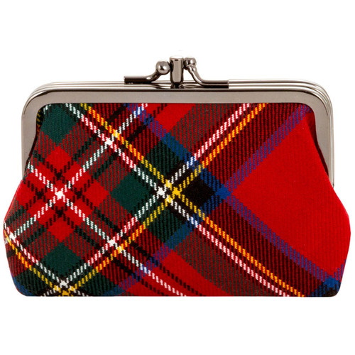 STEWART ROYAL MODERN TARTAN DOUBLE MEDIUM PURSE