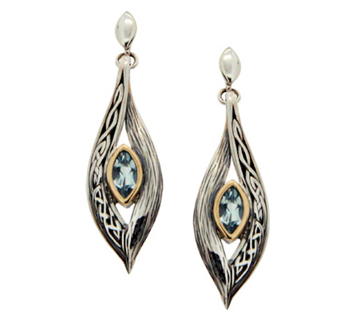 Sterling Silver and 10k Sky Blue Topaz Eternity Knot Elven Post Earrings by  KEITH JACK PEX8384-BT