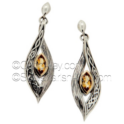These earrings are part of the Elven Collection.     Materials: Sterling Silver with 10k Yellow Gold and Citrine  Dimensions (h x w):  1/2″  x  1 3/4″  Details: post  Wear these earrings as a symbol of your connection to nature and its unknown magic     Pair this piece with the PPX8384-CIT Elven necklace to complete the set.