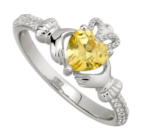 Sterling Silver Cubic Zirconia Claddagh November Birthstone Ring S2106211