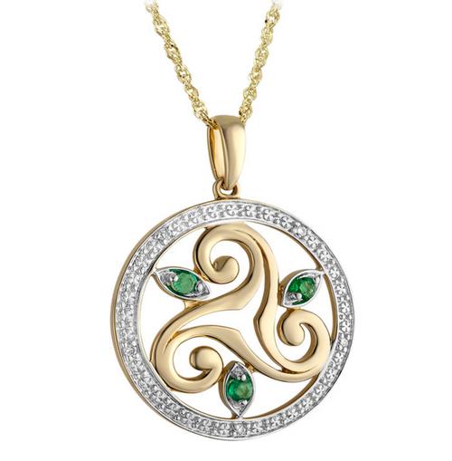 14K Yellow Gold Diamond & Emerald Round Spiral Pendant