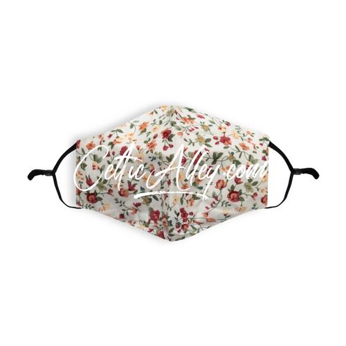 ReUsable and Adjustable  Garden Cream Printed 100% Cotton Face Mask