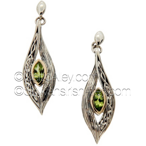 These earrings are part of the Elven Collection.  Materials: Sterling Silver with 10k Yellow Gold and Peridot  Dimensions (h x w):  1/2″  x  1 3/4″  Details: post  Wear these earrings as a symbol of your connection to nature and its unknown magic  Pair this piece with the PPX8383-PER Elven necklace to complete the set.