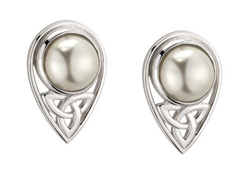 Sterling Silver Glass Pearl Trinity Knot Stud Earrings S34136