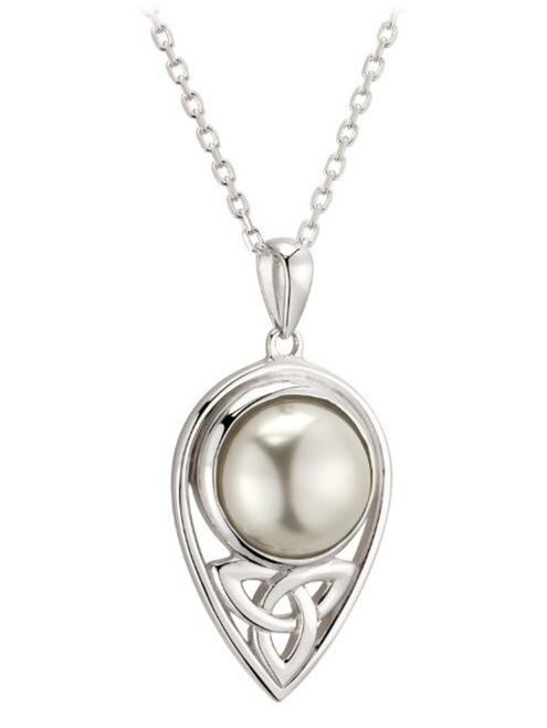 S/S  Glass Pearl Trinity Knot Pendant