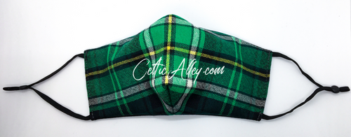 Official Tartan Plaid Fitted Face Mask Celtic Football Club HandMade In Scotland