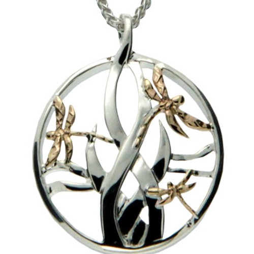 DRAGONFLY IN REEDS PENDANT SMALL in Sterling Silver and 10k Yellow Gold By Keith Jack PPX4802-S