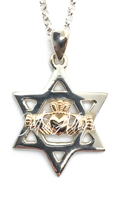 S/S & 10k Gold Star of David Claddagh Pendant