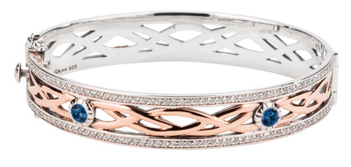 BRAVE HEART Bangle Sterling Silver and 10k Rose Gold with Blue Cubic Zirconia By Keith Jack PBX8824-3-BLCZ
