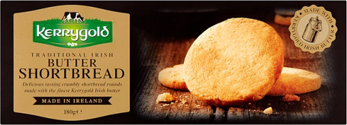 Traditional Irish Butter Kerrygold Shortbread This shortbread is made with Kerrygold Irish Butter. Delicious tasting crumbly shortbread rounds made with the finest Irish butter.  •	Made With work famous  Kerrygold Irish Butter •	225G •	9 serving Per Pack •	A Perfect Gift