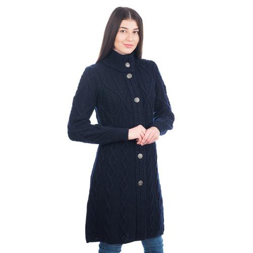 Aran Cable Signature Sweater Coat in Navy
