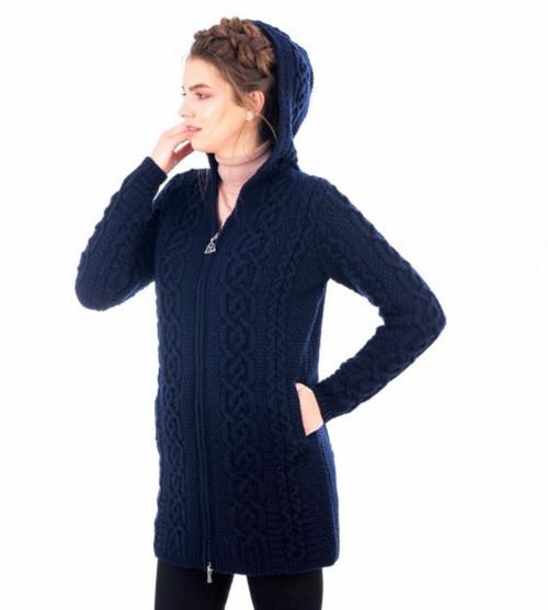 Celtic Aran Sweater Jacket in Navy