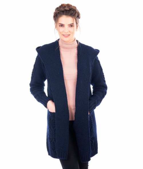 Ladies Classic Fit Long Cardigan Sweater with Hood in Navy