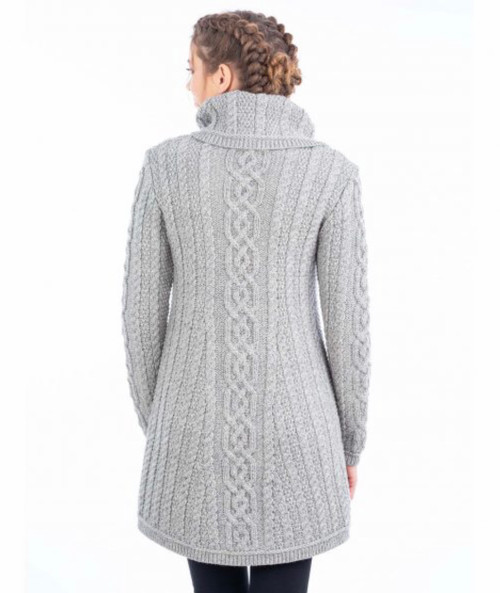 Ladies 4 Button Collar Sweater Coat in Grey