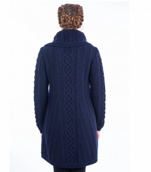 Ladies 4 Button Collar Sweater Coat in Navy