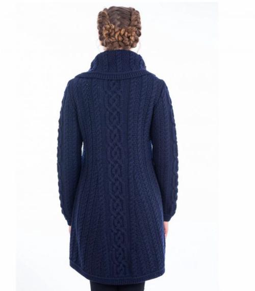 Ladies 4 Button Collar Sweater Coat in Navy