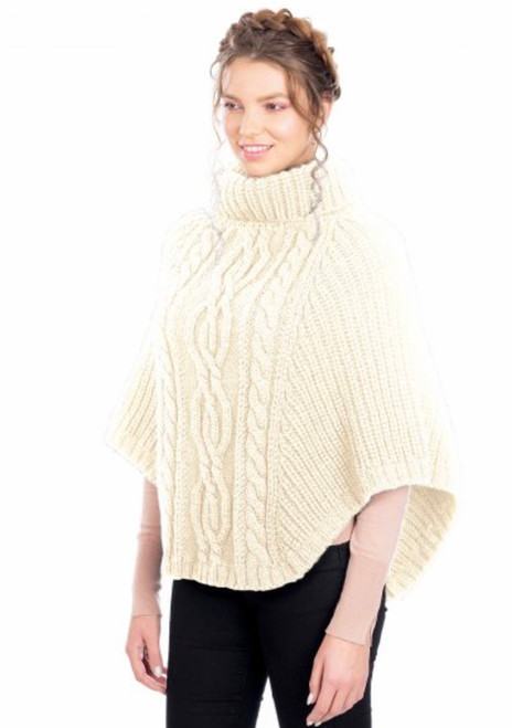 Cable Stitch Poncho In Natural