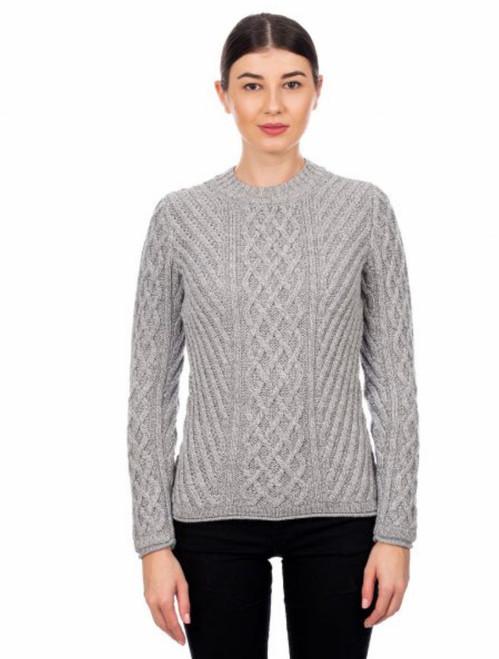 Ladies Aran Tunic Sweater In Grey