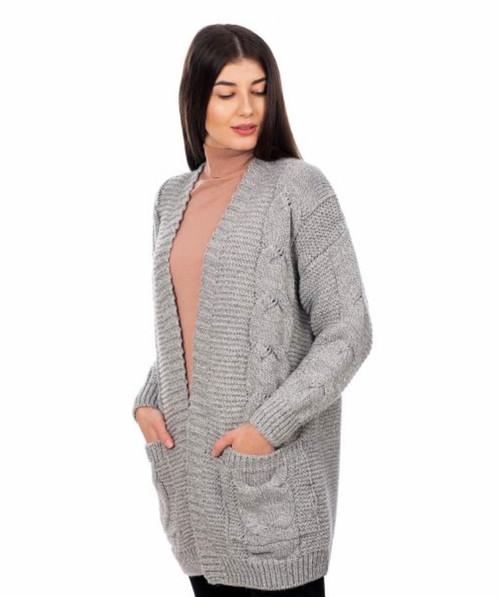 Ladies Long Open Front Drape Cardigan in Grey