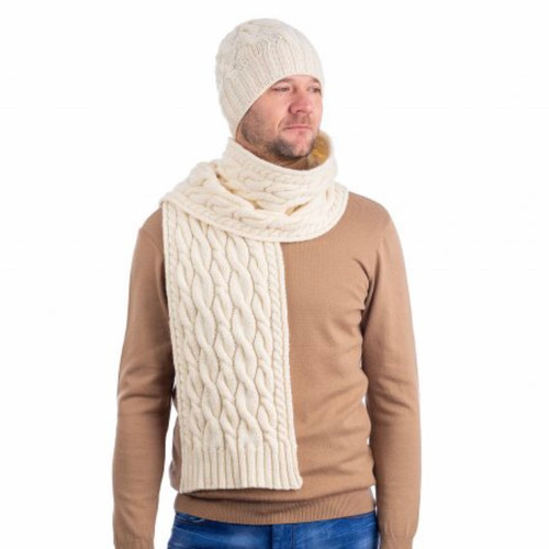 Wool Cable Knit Scarf In Natural