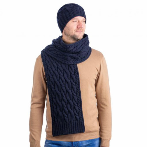 Wool Cable Knit Scarf In Navy