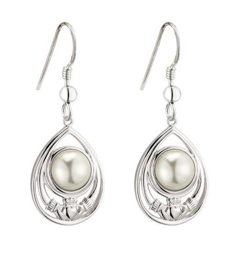 Sterling Silver Glass Pearl Claddagh Drop Earrings S34138