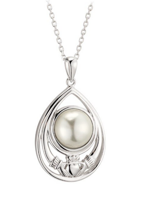 S/S Glass Pearl Claddagh Pendant