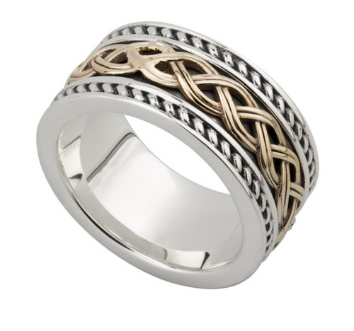 Silver & 10k Gent's Celtic Knot Band