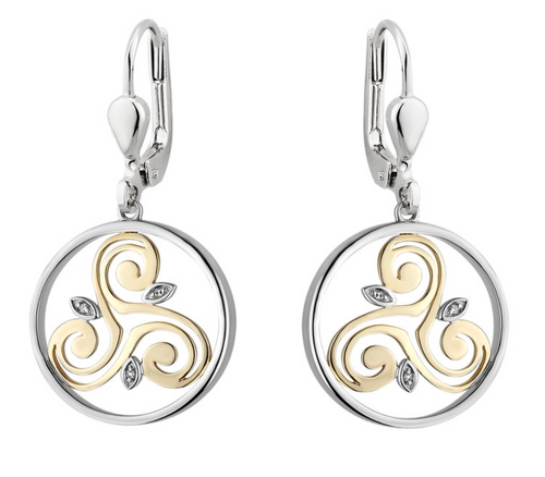 Silver & 10k Gold & Diamond Spiral Circle Earrings S34117