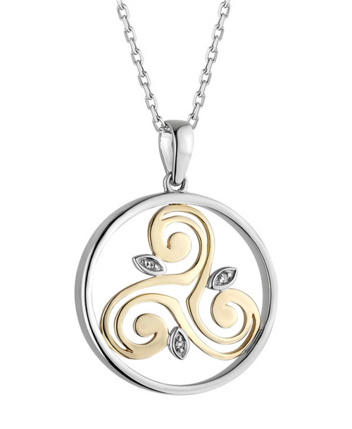 Silver 10k Gold & Diamond Spiral Circle Pendant