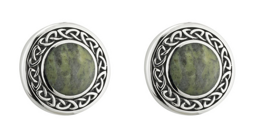 Silver Connemara Marble Round Celtic Earrings