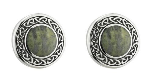 Silver Connemara Marble Round Celtic Earrings