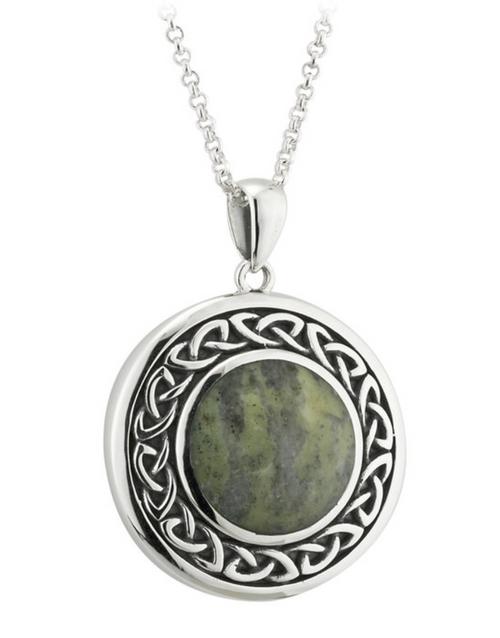 Silver Connemara Marble Round Celtic Pendant