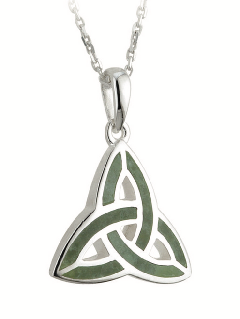 Silver Connemara Marble Trinity Knot Pendant S44701