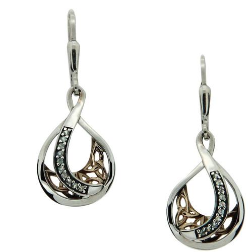 S/sil + 10k White Sapphire Trinity Teardrop Leverback Earrings By Keith Jack